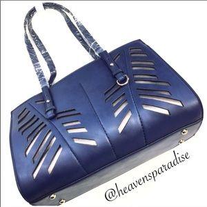 Blue Faux Leather Laser Cut Tote Bag